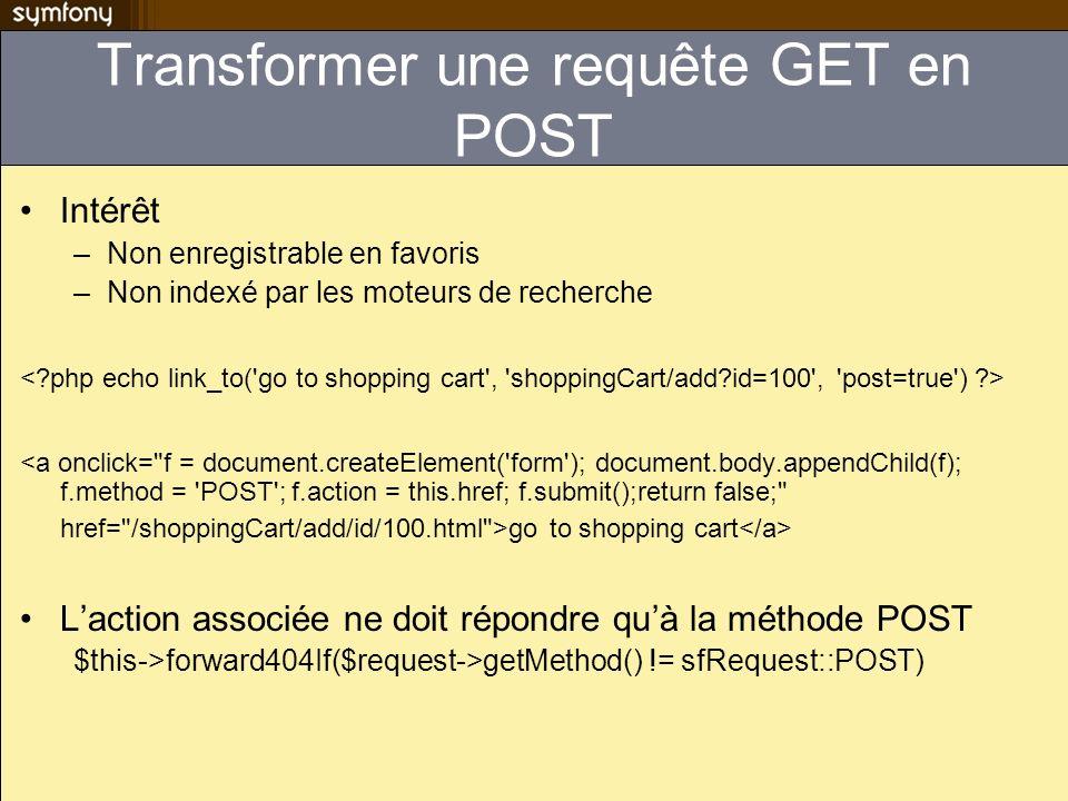Transformer une requête GET en POST Intérêt –Non enregistrable en favoris –Non indexé par les moteurs de recherche go to shopping cart Laction associé