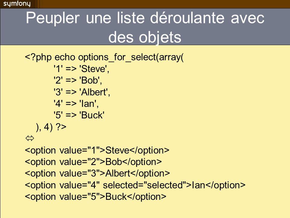 Peupler une liste déroulante avec des objets <?php echo options_for_select(array( '1' => 'Steve', '2' => 'Bob', '3' => 'Albert', '4' => 'Ian', '5' =>