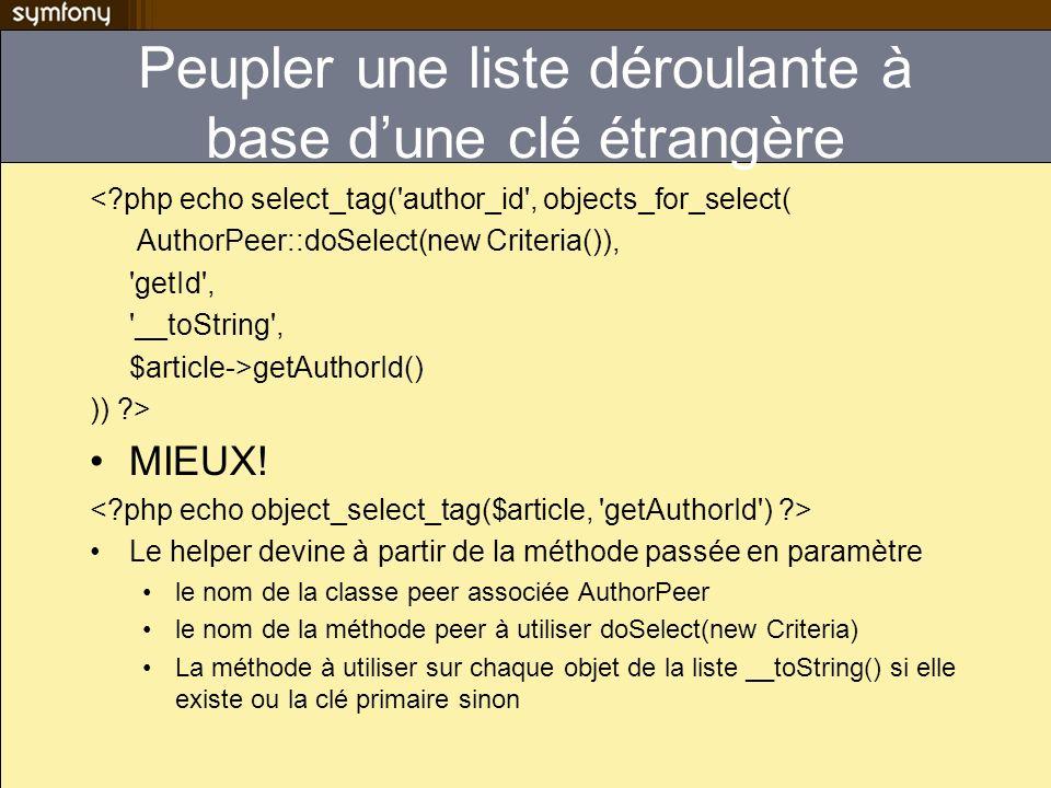 Peupler une liste déroulante à base dune clé étrangère <?php echo select_tag('author_id', objects_for_select( AuthorPeer::doSelect(new Criteria()), 'g