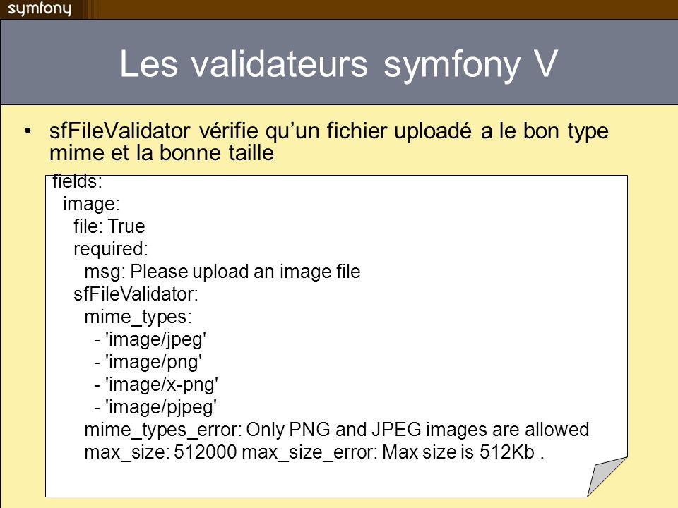 Les validateurs symfony V sfFileValidator vérifie quun fichier uploadé a le bon type mime et la bonne taille fields: image: file: True required: msg: