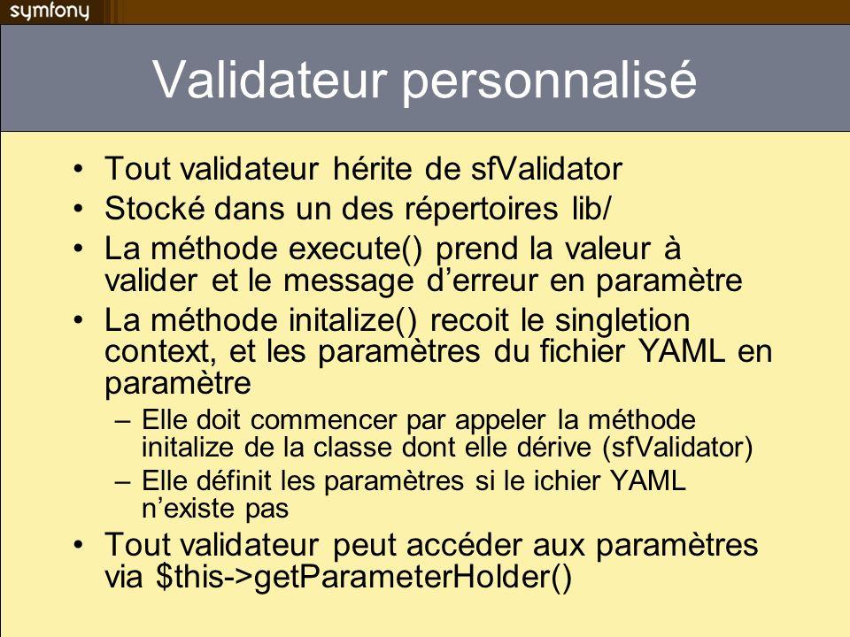 Validateur personnalisé Tout validateur hérite de sfValidator Stocké dans un des répertoires lib/ La méthode execute() prend la valeur à valider et le