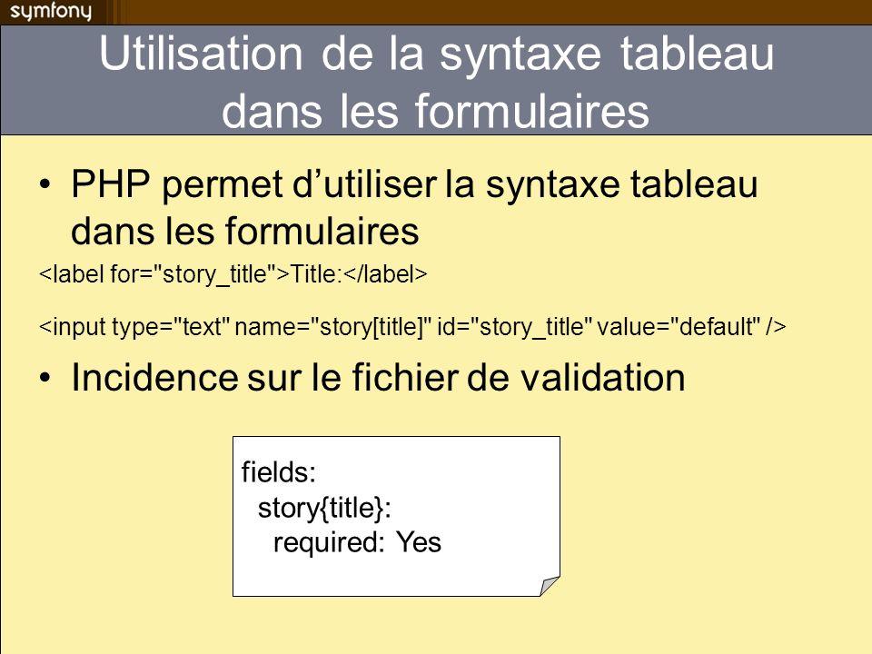 Utilisation de la syntaxe tableau dans les formulaires PHP permet dutiliser la syntaxe tableau dans les formulaires Title: Incidence sur le fichier de