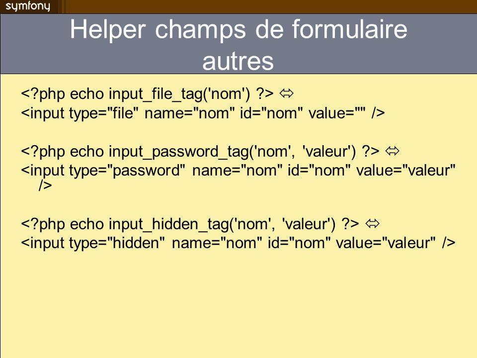 modules/contact/actions/actions.class.php class ContactActions extends sfActions { public function handleErrorSend() { $this->forward( contact , displayForm ); } public function executeSend() { // traitement du formulaire } Si cest la même action qui affiche le formulaire et qui le traite handleErrorSend() na quà renvoyer sfView::SUCCESS pour réafficher sendSuccess.php