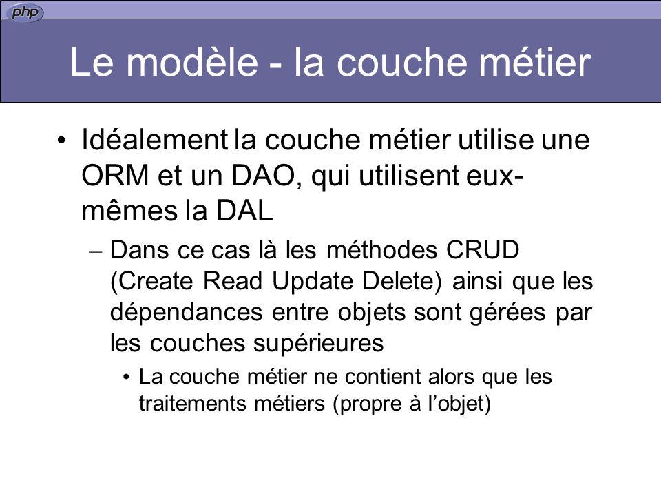 Le modèle - la couche métier Idéalement la couche métier utilise une ORM et un DAO, qui utilisent eux- mêmes la DAL – Dans ce cas là les méthodes CRUD
