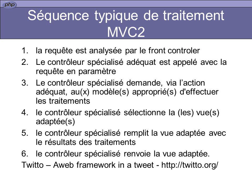 Séquence typique de traitement MVC2 1.la requête est analysée par le front controler 2.Le contrôleur spécialisé adéquat est appelé avec la requête en