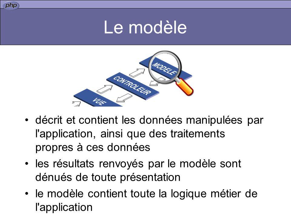 Le modèle - DAL Data Access Layer Rend la gestion des données indépendante du stockage (BDD, XML, LDAP, etc..) Dans le contexte PHP/BDD cette couche permet surtout une indépendance du SGBD utilisé (PDO, PEAR::MDB2, Creole)