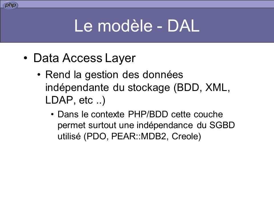 Le modèle - DAL Data Access Layer Rend la gestion des données indépendante du stockage (BDD, XML, LDAP, etc..) Dans le contexte PHP/BDD cette couche p