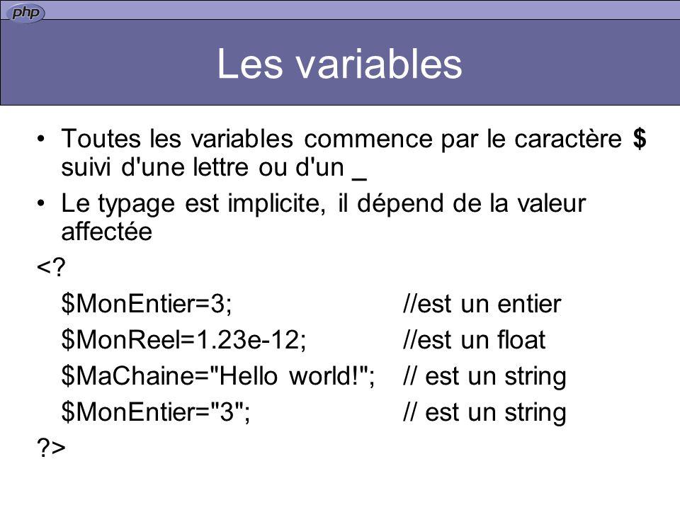 Les variables Toutes les variables commence par le caractère $ suivi d une lettre ou d un _ Le typage est implicite, il dépend de la valeur affectée <.