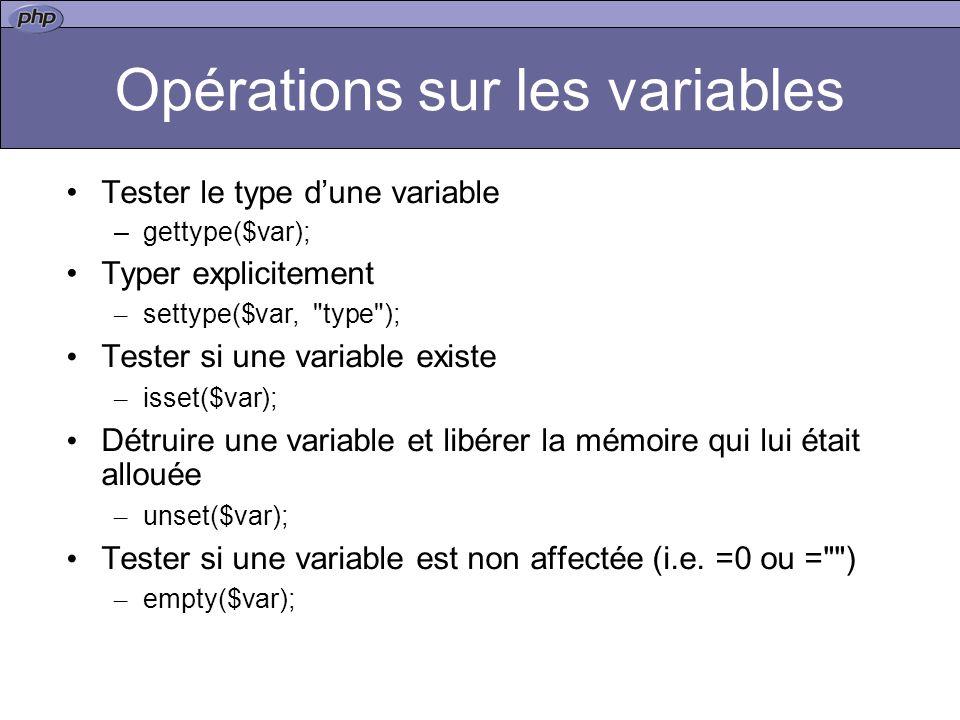 Opérations sur les variables Tester le type dune variable –gettype($var); Typer explicitement – settype($var, type ); Tester si une variable existe – isset($var); Détruire une variable et libérer la mémoire qui lui était allouée – unset($var); Tester si une variable est non affectée (i.e.