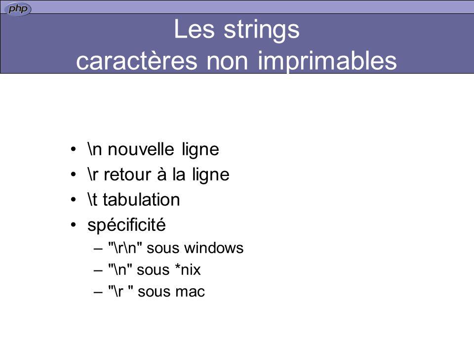Les strings caractères non imprimables \n nouvelle ligne \r retour à la ligne \t tabulation spécificité – \r\n sous windows – \n sous *nix – \r sous mac