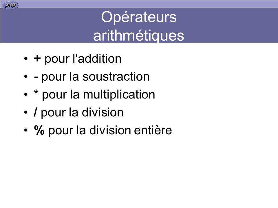 Opérateurs arithmétiques + pour l addition - pour la soustraction * pour la multiplication / pour la division % pour la division entière