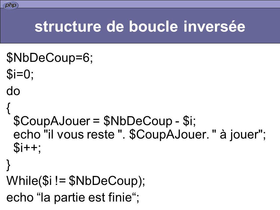 structure de boucle inversée $NbDeCoup=6; $i=0; do { $CoupAJouer = $NbDeCoup - $i; echo