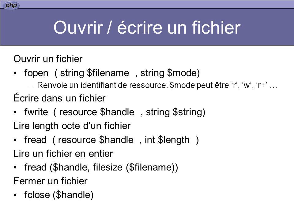 Ouvrir / écrire un fichier Ouvrir un fichier fopen ( string $filename, string $mode) – Renvoie un identifiant de ressource.