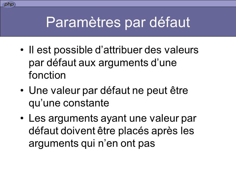 Paramètres par défaut Il est possible dattribuer des valeurs par défaut aux arguments dune fonction Une valeur par défaut ne peut être quune constante Les arguments ayant une valeur par défaut doivent être placés après les arguments qui nen ont pas