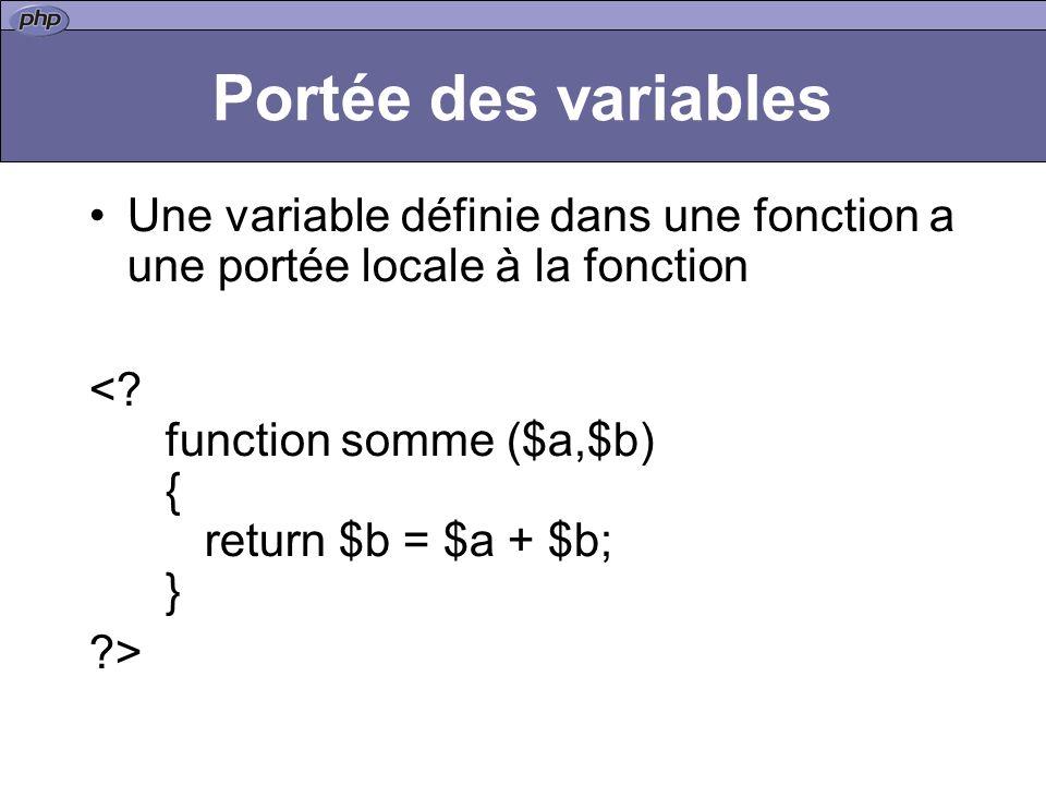 Portée des variables Une variable définie dans une fonction a une portée locale à la fonction <.