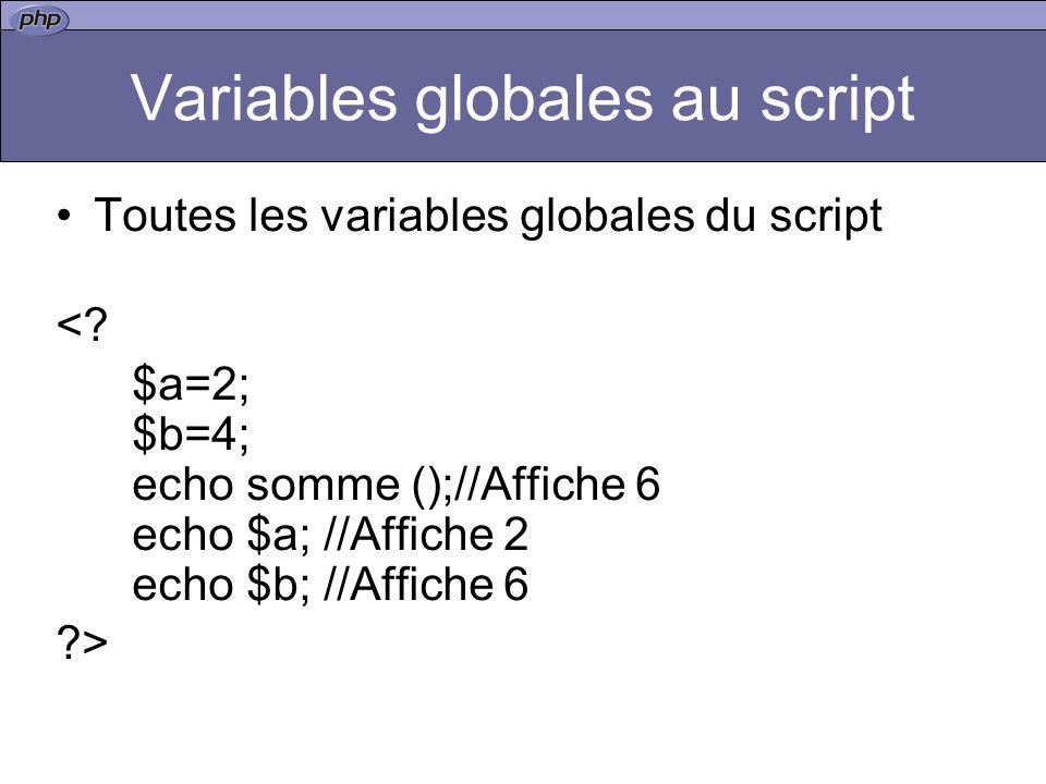 Variables globales au script Toutes les variables globales du script <.