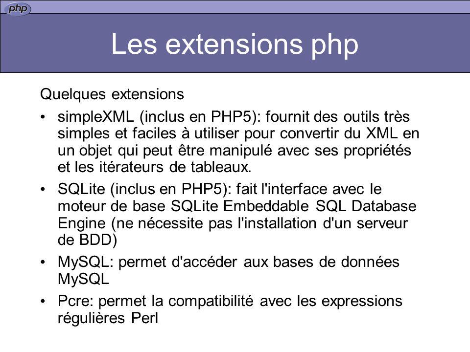 Les extensions php Quelques extensions simpleXML (inclus en PHP5): fournit des outils très simples et faciles à utiliser pour convertir du XML en un objet qui peut être manipulé avec ses propriétés et les itérateurs de tableaux.