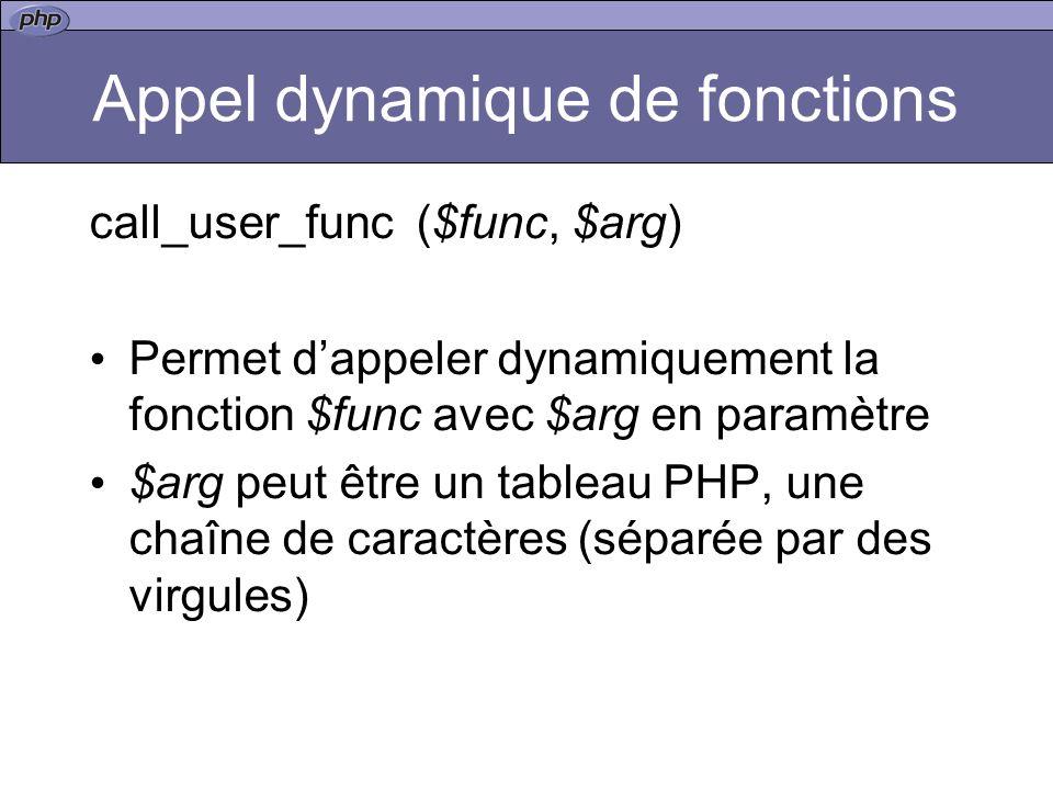 Appel dynamique de fonctions call_user_func ($func, $arg) Permet dappeler dynamiquement la fonction $func avec $arg en paramètre $arg peut être un tableau PHP, une chaîne de caractères (séparée par des virgules)