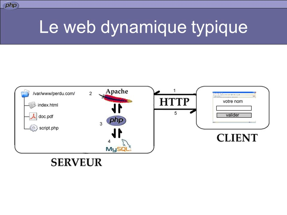 Le langage Dit de type embedded : le code PHP s insère au milieu du code HTML <?php = début de portion de code PHP ?> = fin de portion de code PHP Chaque instructions se termine par le caractère ; commentaire –// commente une ligne entière –/* … */ commente une portion de code PHP PHP est sensible à la casse (il y a un distinction entre les minuscules et les majuscules) TRUE (1) et FALSE(0) sont deux contantes prédéfinies