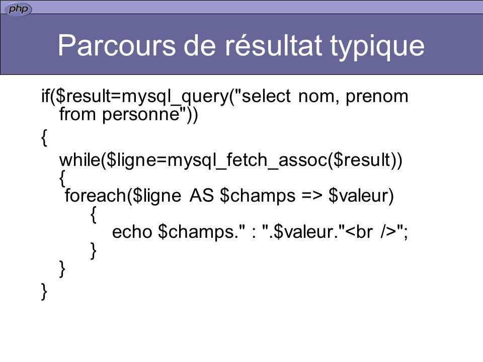 Parcours de résultat typique if($result=mysql_query( select nom, prenom from personne )) { while($ligne=mysql_fetch_assoc($result)) { foreach($ligne AS $champs => $valeur) { echo $champs. : .$valeur. ; } } }