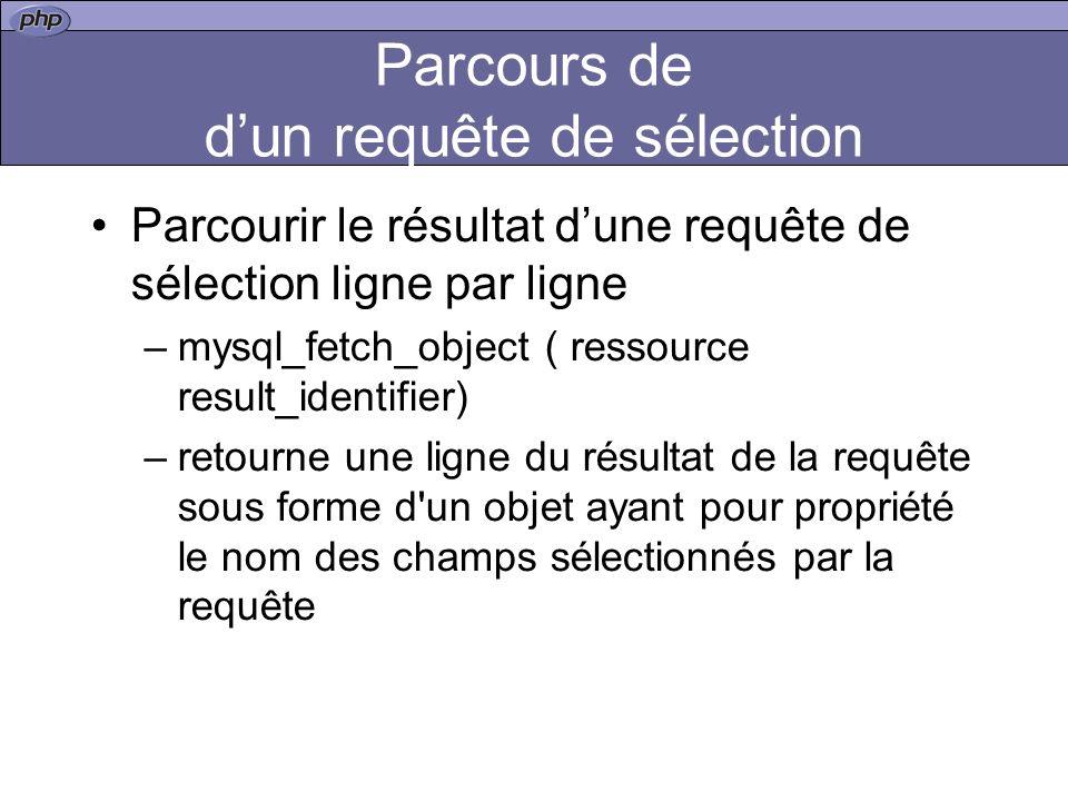 Parcours de dun requête de sélection Parcourir le résultat dune requête de sélection ligne par ligne –mysql_fetch_object ( ressource result_identifier) –retourne une ligne du résultat de la requête sous forme d un objet ayant pour propriété le nom des champs sélectionnés par la requête