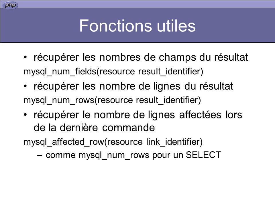 Fonctions utiles récupérer les nombres de champs du résultat mysql_num_fields(resource result_identifier) récupérer les nombre de lignes du résultat mysql_num_rows(resource result_identifier) récupérer le nombre de lignes affectées lors de la dernière commande mysql_affected_row(resource link_identifier) –comme mysql_num_rows pour un SELECT