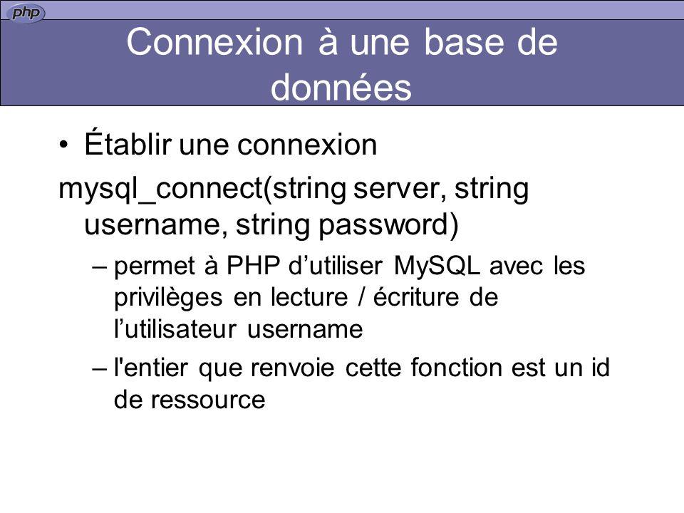 Connexion à une base de données Établir une connexion mysql_connect(string server, string username, string password) –permet à PHP dutiliser MySQL avec les privilèges en lecture / écriture de lutilisateur username –l entier que renvoie cette fonction est un id de ressource