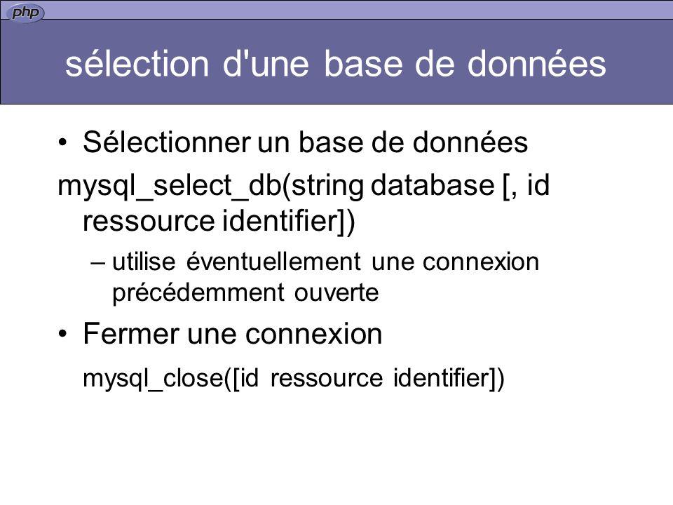 sélection d une base de données Sélectionner un base de données mysql_select_db(string database [, id ressource identifier]) –utilise éventuellement une connexion précédemment ouverte Fermer une connexion mysql_close([id ressource identifier])