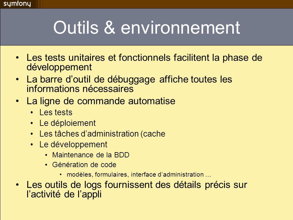 Outils & environnement Les tests unitaires et fonctionnels facilitent la phase de développement La barre doutil de débuggage affiche toutes les inform