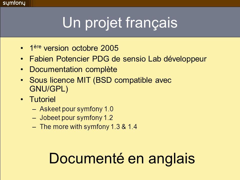 Un projet français 1 ère version octobre 2005 Fabien Potencier PDG de sensio Lab développeur Documentation complète Sous licence MIT (BSD compatible a