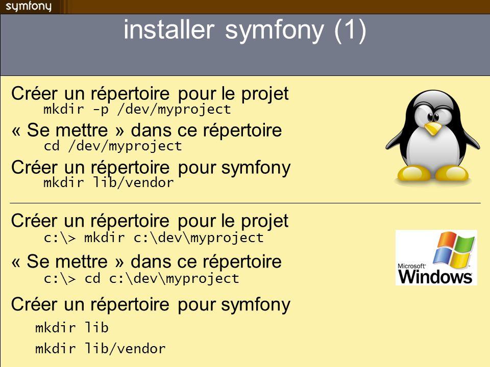 installer symfony (1) Créer un répertoire pour le projet mkdir -p /dev/myproject « Se mettre » dans ce répertoire cd /dev/myproject Créer un répertoire pour symfony mkdir lib/vendor Créer un répertoire pour le projet c:\> mkdir c:\dev\myproject « Se mettre » dans ce répertoire c:\> cd c:\dev\myproject Créer un répertoire pour symfony mkdir lib mkdir lib/vendor