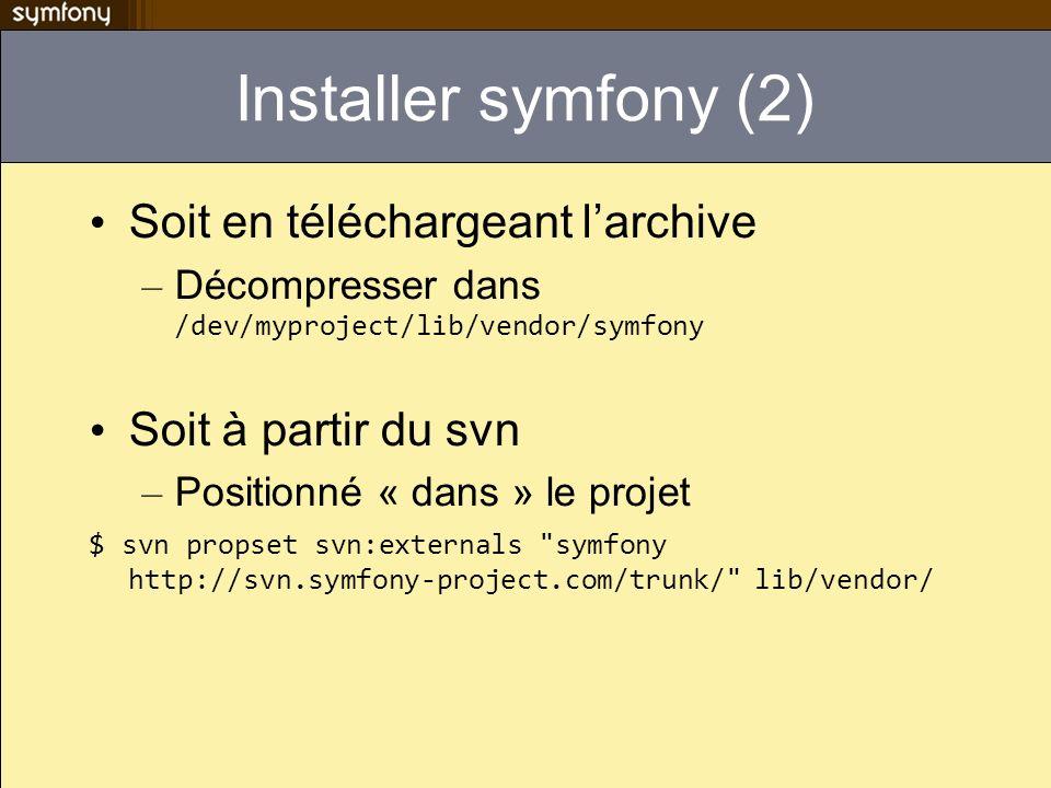 Installer symfony (2) Soit en téléchargeant larchive – Décompresser dans /dev/myproject/lib/vendor/symfony Soit à partir du svn – Positionné « dans »