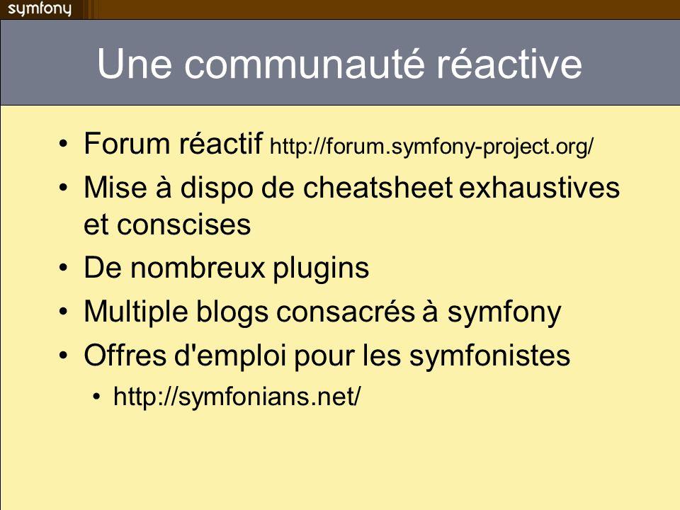 Une communauté réactive Forum réactif http://forum.symfony-project.org/ Mise à dispo de cheatsheet exhaustives et conscises De nombreux plugins Multiple blogs consacrés à symfony Offres d emploi pour les symfonistes http://symfonians.net/