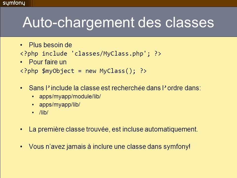Auto-chargement des classes Plus besoin de Pour faire un Sans l include la classe est recherch é e dans l ordre dans: apps/myapp/module/lib/ apps/myapp/lib/ /lib/ La première classe trouvée, est incluse automatiquement.