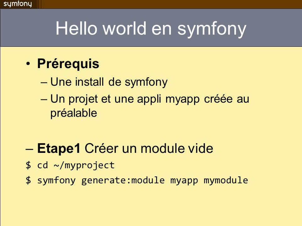 Hello world en symfony Prérequis –Une install de symfony –Un projet et une appli myapp créée au préalable –Etape1 Créer un module vide $ cd ~/myproject $ symfony generate:module myapp mymodule
