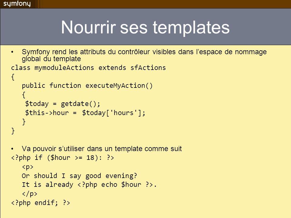Nourrir ses templates Symfony rend les attributs du contrôleur visibles dans lespace de nommage global du template class mymoduleActions extends sfAct
