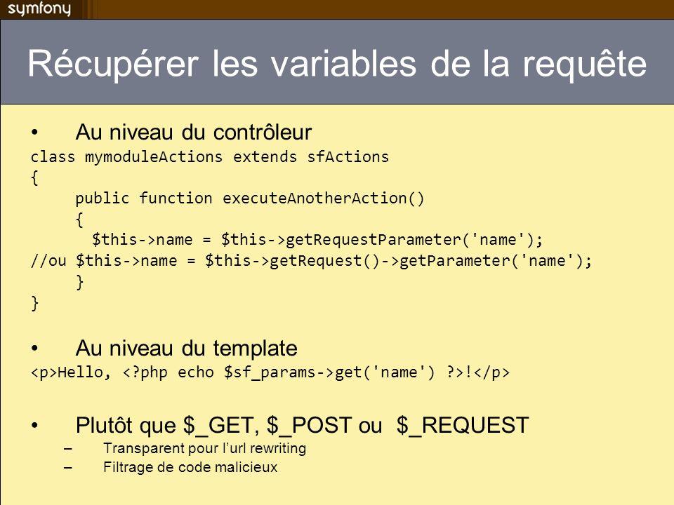 Récupérer les variables de la requête Au niveau du contrôleur class mymoduleActions extends sfActions { public function executeAnotherAction() { $this->name = $this->getRequestParameter( name ); //ou $this->name = $this->getRequest()->getParameter( name ); } Au niveau du template Hello, get( name ) ?>.