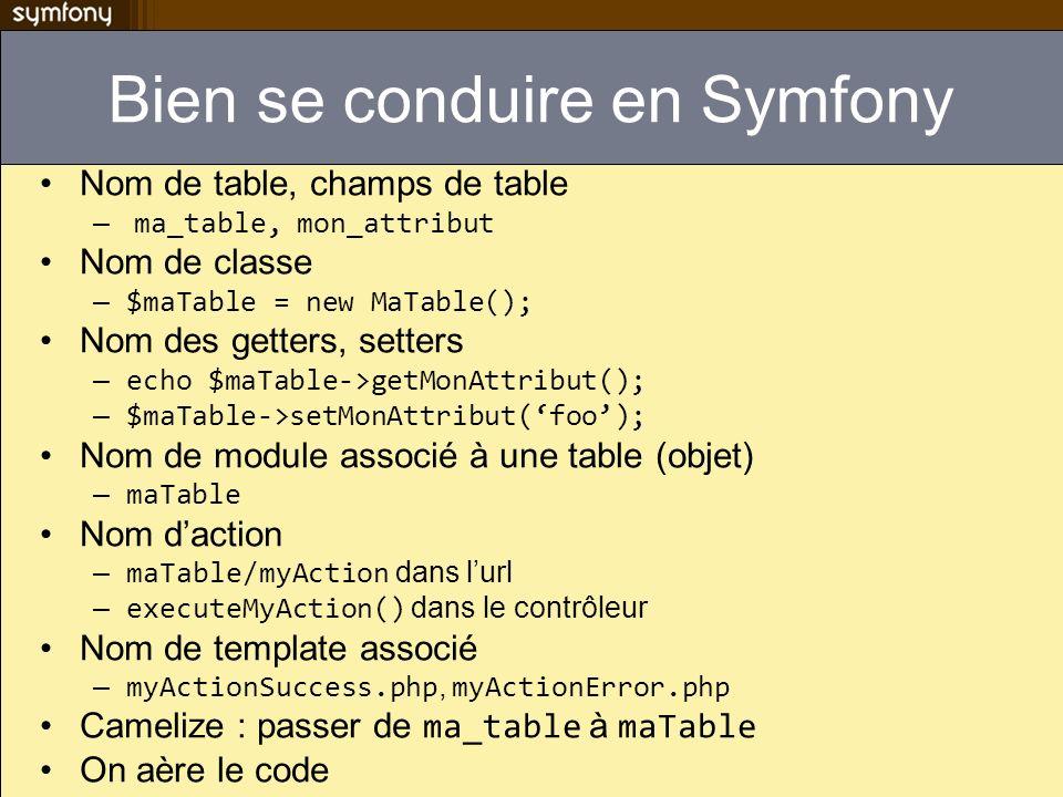 Bien se conduire en Symfony Nom de table, champs de table – ma_table, mon_attribut Nom de classe – $maTable = new MaTable(); Nom des getters, setters