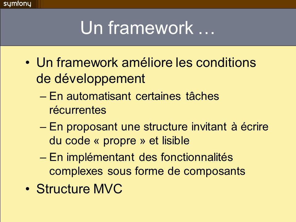 Un framework … Un framework améliore les conditions de développement –En automatisant certaines tâches récurrentes –En proposant une structure invitant à écrire du code « propre » et lisible –En implémentant des fonctionnalités complexes sous forme de composants Structure MVC