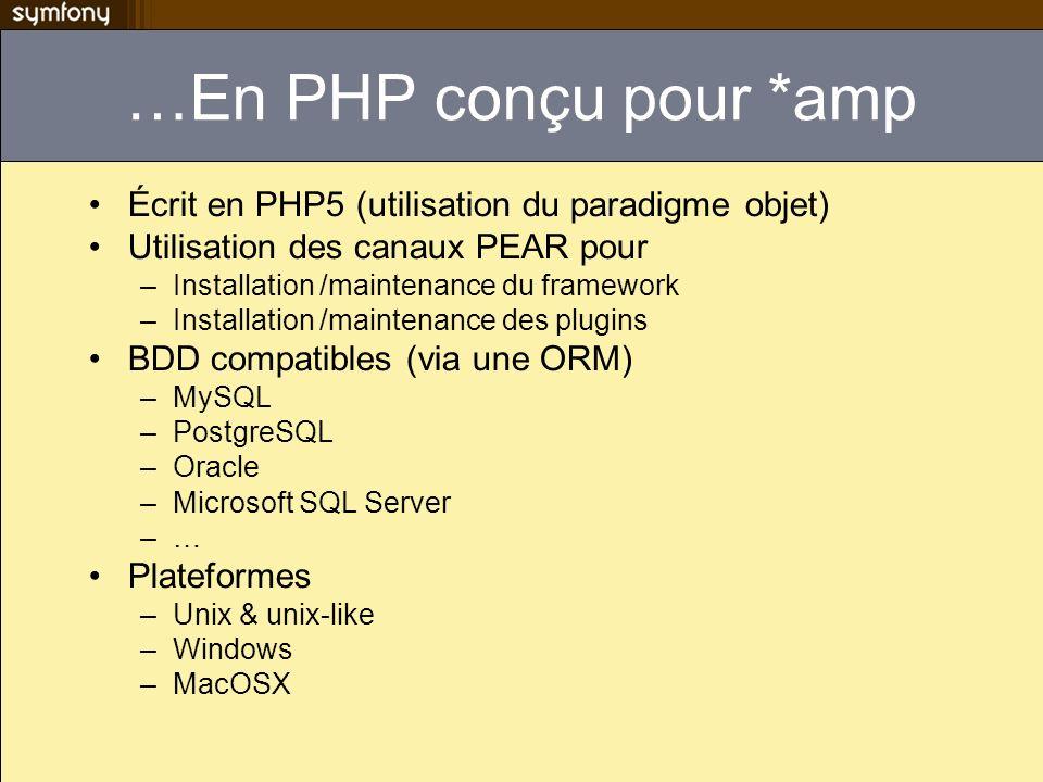 …En PHP conçu pour *amp Écrit en PHP5 (utilisation du paradigme objet) Utilisation des canaux PEAR pour –Installation /maintenance du framework –Installation /maintenance des plugins BDD compatibles (via une ORM) –MySQL –PostgreSQL –Oracle –Microsoft SQL Server –… Plateformes –Unix & unix-like –Windows –MacOSX