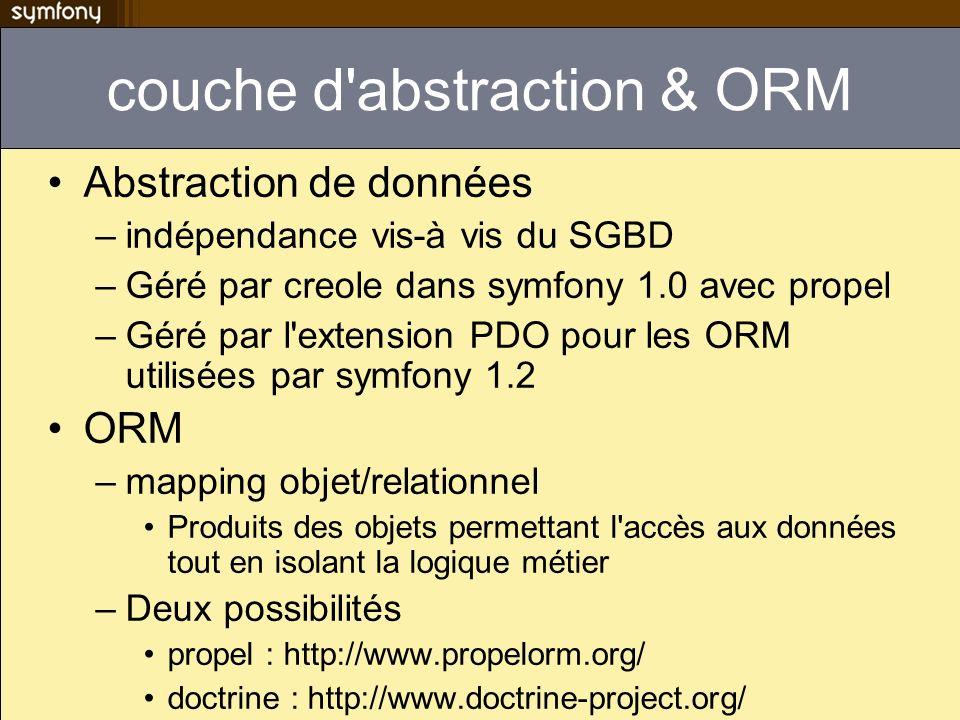 couche d abstraction & ORM Abstraction de données –indépendance vis-à vis du SGBD –Géré par creole dans symfony 1.0 avec propel –Géré par l extension PDO pour les ORM utilisées par symfony 1.2 ORM –mapping objet/relationnel Produits des objets permettant l accès aux données tout en isolant la logique métier –Deux possibilités propel : http://www.propelorm.org/ doctrine : http://www.doctrine-project.org/