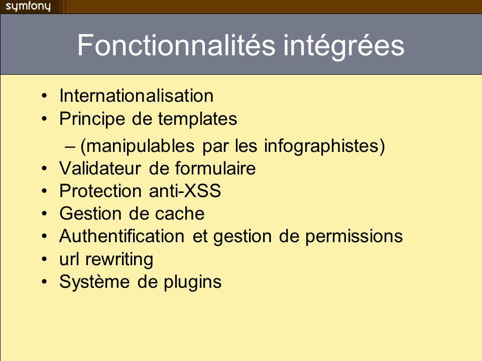 Les constantes Constantes PHP classiques très peu utilisées dans symfony –La classe sfConfig centralise la conf // Instead of PHP constants, define( SF_FOO , bar ); echo SF_FOO; // Symfony uses the sfConfig object sfConfig::set( sf_foo , bar ); echo sfConfig::get( sf_foo );