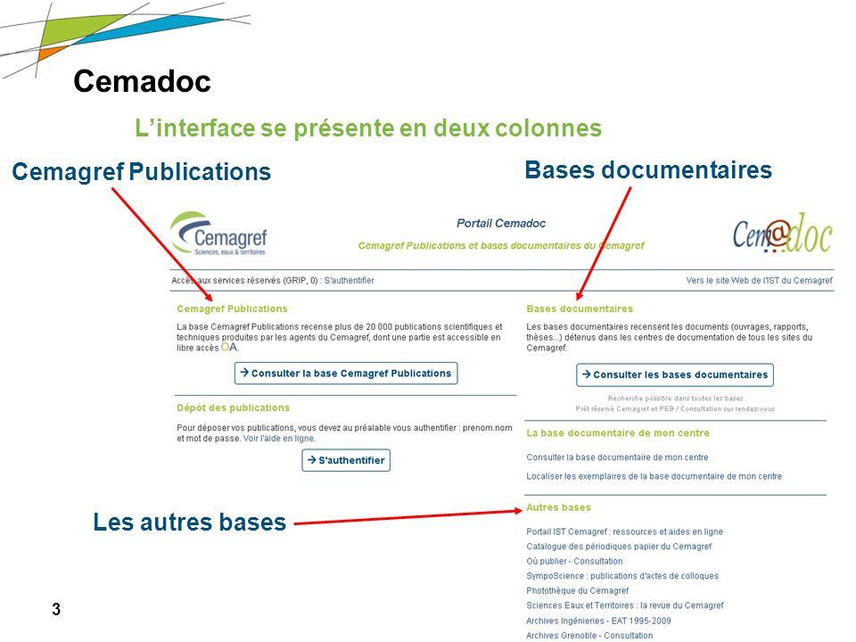 3 Journée des nouveaux arrivants – 6 avril 2011 Cemadoc Linterface se présente en deux colonnes Bases documentaires Cemagref Publications Les autres b