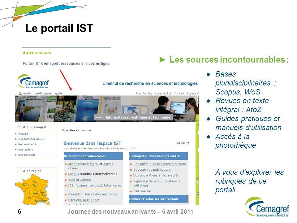 6 Journée des nouveaux arrivants – 6 avril 2011 Le portail IST Les sources incontournables : Bases pluridisciplinaires : Scopus, WoS Revues en texte i