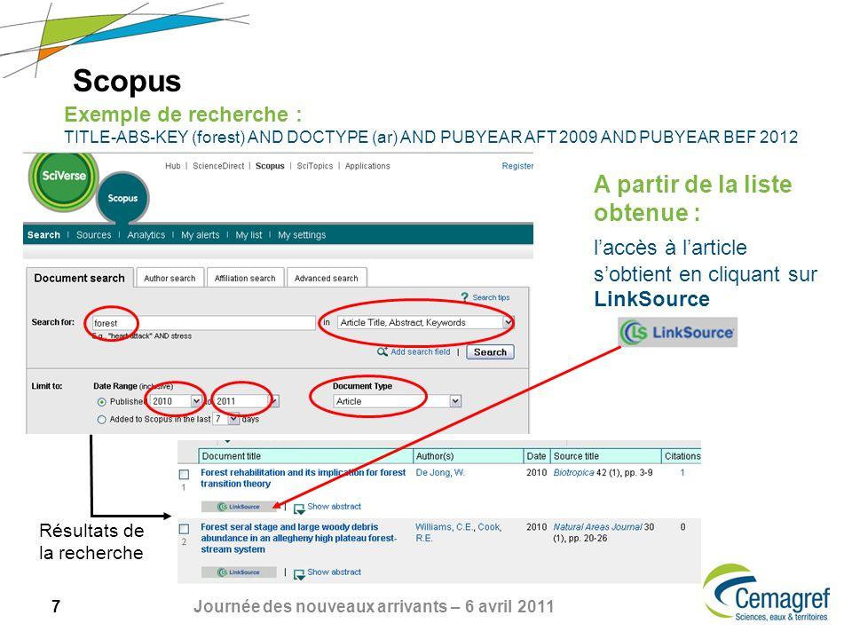 7 Journée des nouveaux arrivants – 6 avril 2011 Scopus Exemple de recherche : TITLE-ABS-KEY (forest) AND DOCTYPE (ar) AND PUBYEAR AFT 2009 AND PUBYEAR