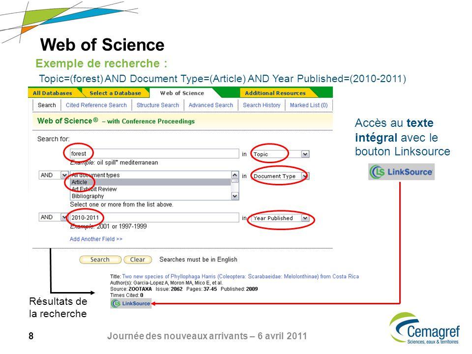 8 Journée des nouveaux arrivants – 6 avril 2011 Web of Science Exemple de recherche : Topic=(forest) AND Document Type=(Article) AND Year Published=(2