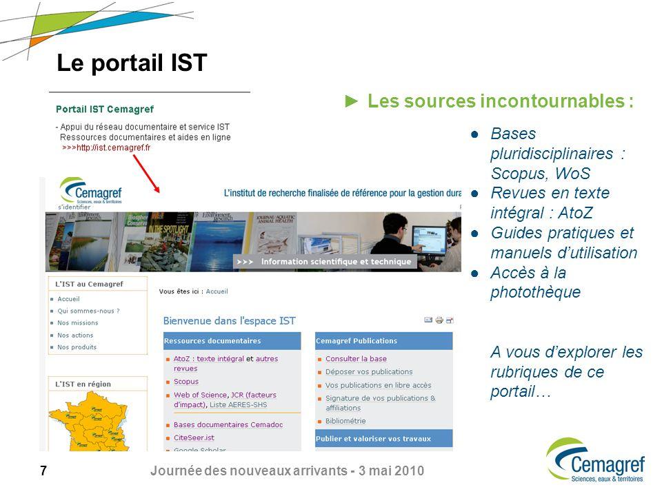 8 Journée des nouveaux arrivants - 3 mai 2010 Scopus Exemple de recherche : TITLE-ABS-KEY (forest) AND DOCTYPE (ar) AND PUBYEAR IS 2009 A partir de la liste obtenue : laccès à larticle sobtient en cliquant sur LinkSource Résultats de la recherche
