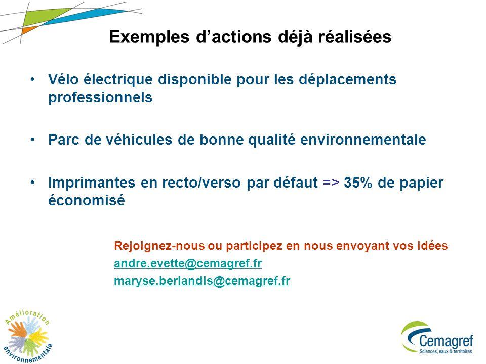 7 Exemples dactions déjà réalisées Vélo électrique disponible pour les déplacements professionnels Parc de véhicules de bonne qualité environnementale Imprimantes en recto/verso par défaut => 35% de papier économisé Rejoignez-nous ou participez en nous envoyant vos idées andre.evette@cemagref.fr maryse.berlandis@cemagref.fr
