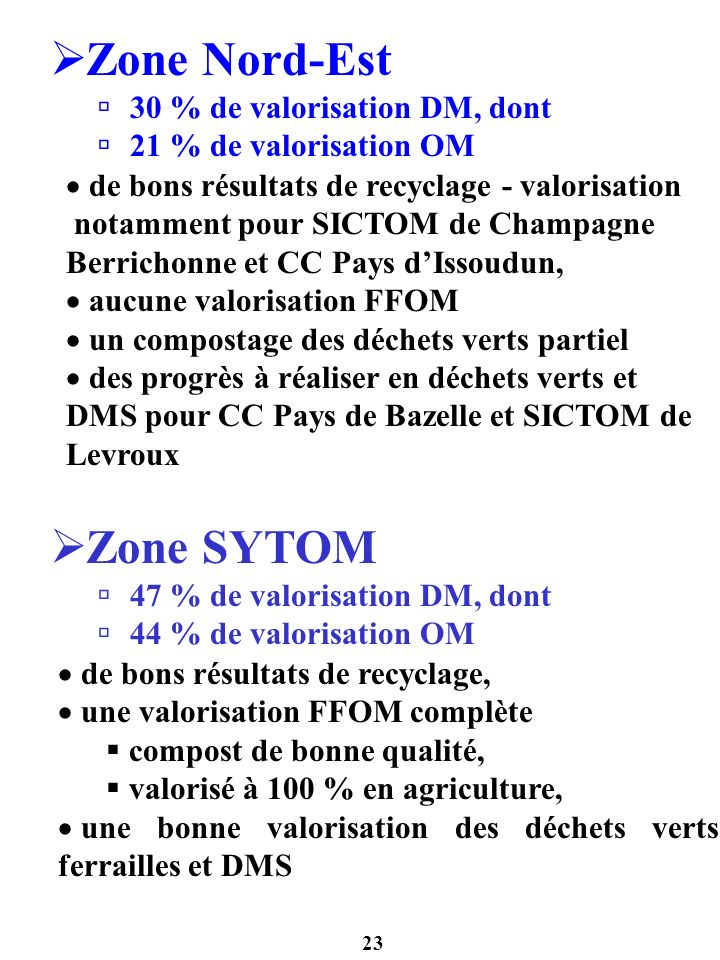 23 Zone Nord-Est 30 % de valorisation DM, dont 21 % de valorisation OM de bons résultats de recyclage - valorisation notamment pour SICTOM de Champagn