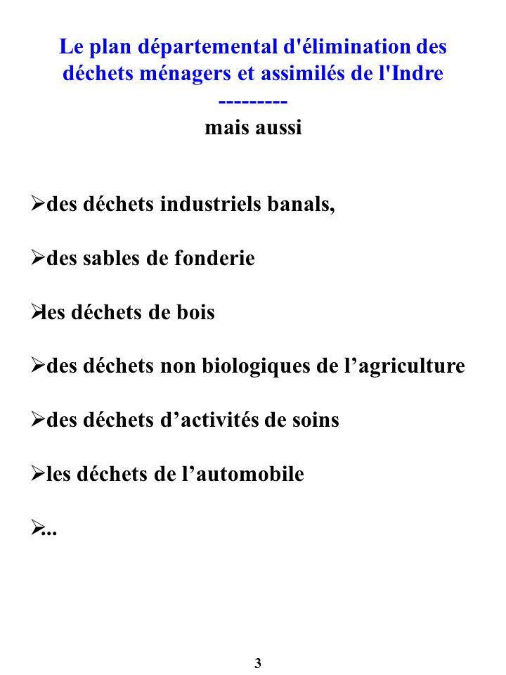 3 Le plan départemental d'élimination des déchets ménagers et assimilés de l'Indre --------- mais aussi des déchets industriels banals, des sables de